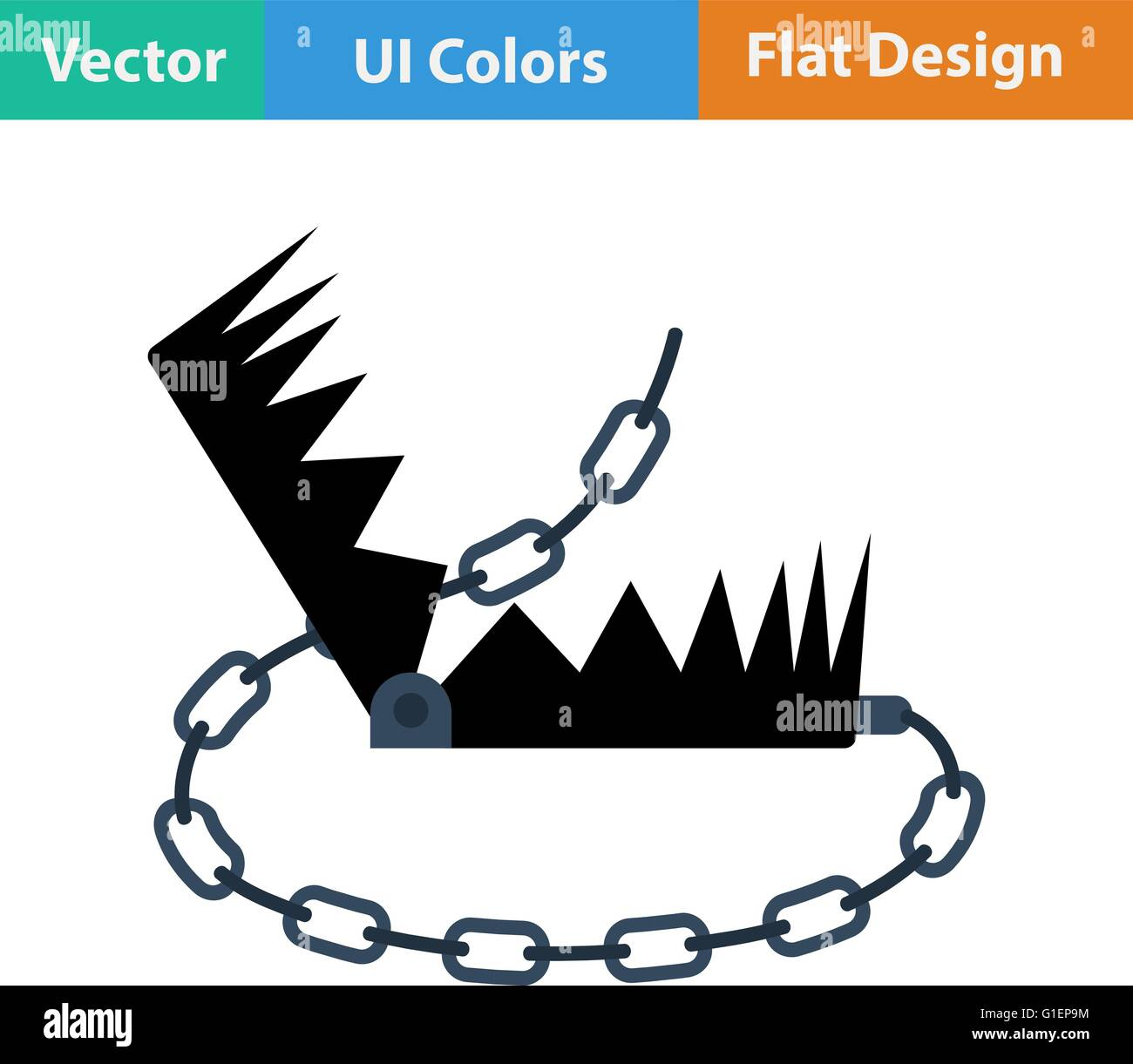 hight resolution of flat design icon of bear hunting trap in ui colors vector illustration