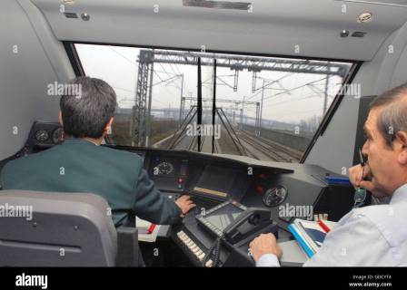 "Italy, inside of the driver's compartment on an high-speed train Eurostar ""Red Arrow"" on the Milan-Bologna railway Stock Photo"