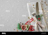 Christmas table place setting, holidays copy space ...