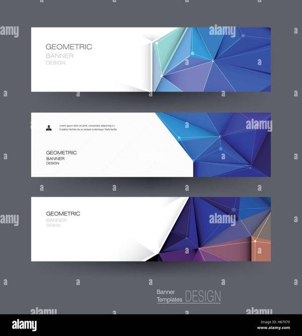 Vector Abstract Banners Set With Polygonal Triangle