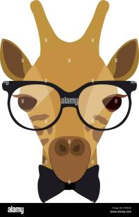 giraffe cartoon with glasses and bow tie.animal hipster ...