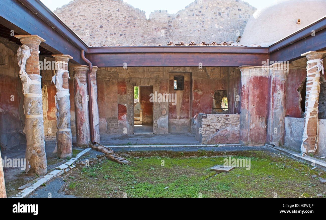 The Ancient Courtyard Of The Roman Villa With Painted