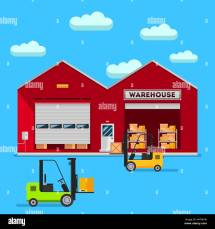 Warehouse Infographic Elements Vector Flat Design. People