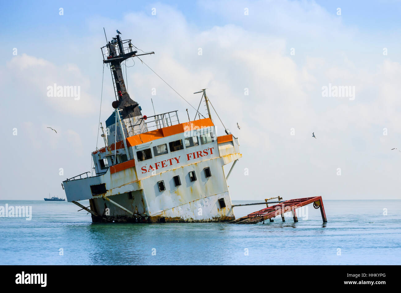 Shipwreck Sinking Cargo Ship In The Middle Of The Sea