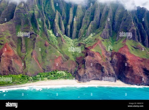 Aerial View Of Famous Remote Na Pali Coast Kauai