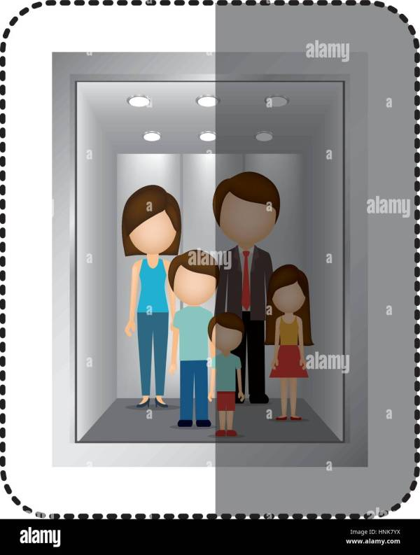 Elevator With People Icon Vector