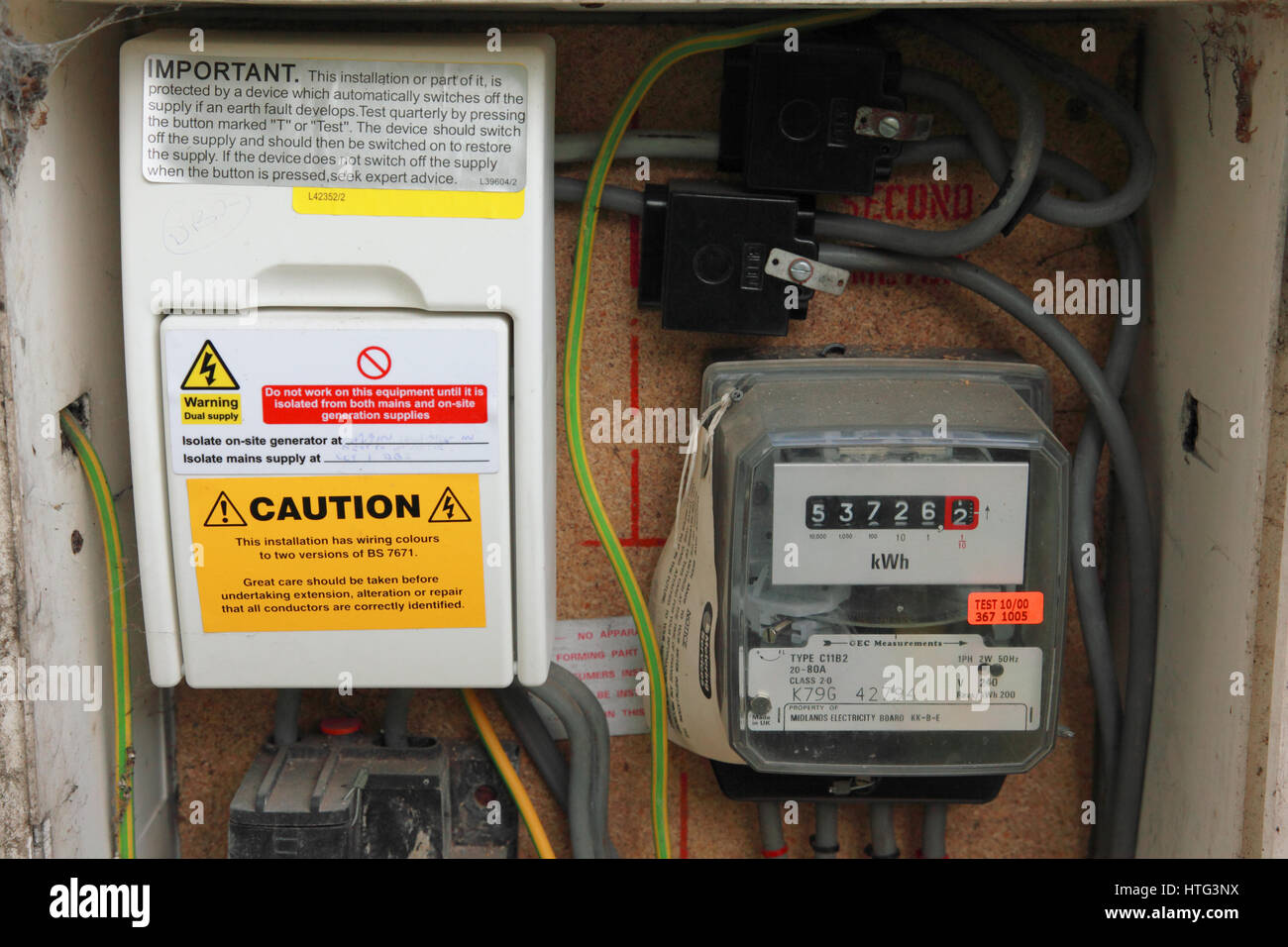 electric meter box wiring diagram uk telephone extension stock photos and