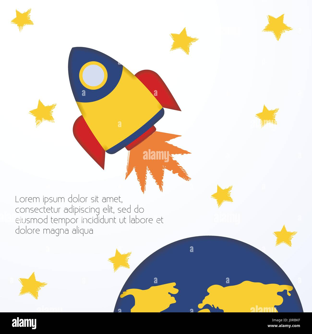 Spacecraft Vector Illustration Postcard Template Flying Yellow Rocket Among  Stars On White Background Cute Design In Children's Drawing Style