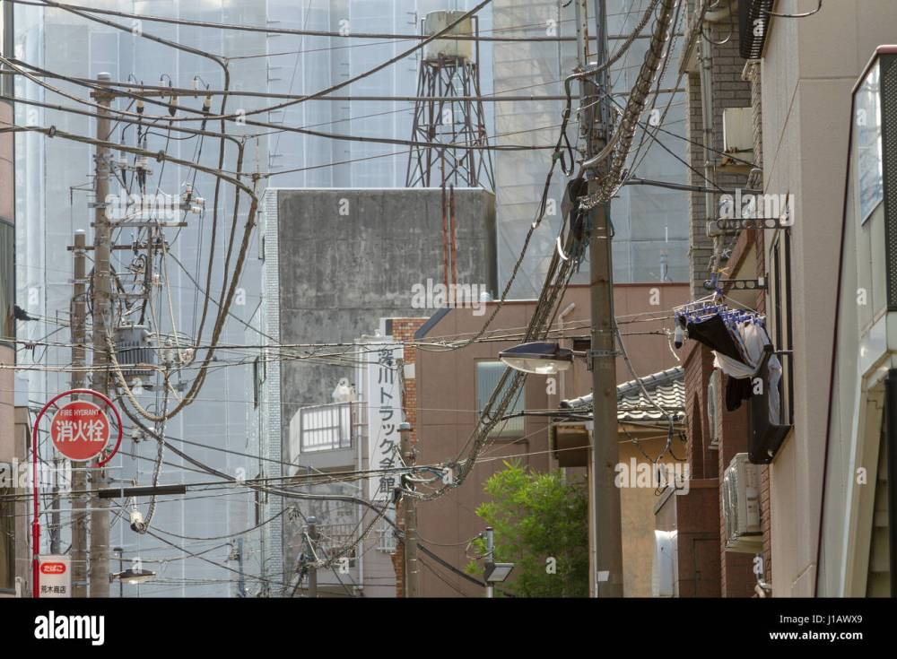 medium resolution of telephone and electrical wires form a messy tangle above a street in tokyo japan friday november 4th 2016