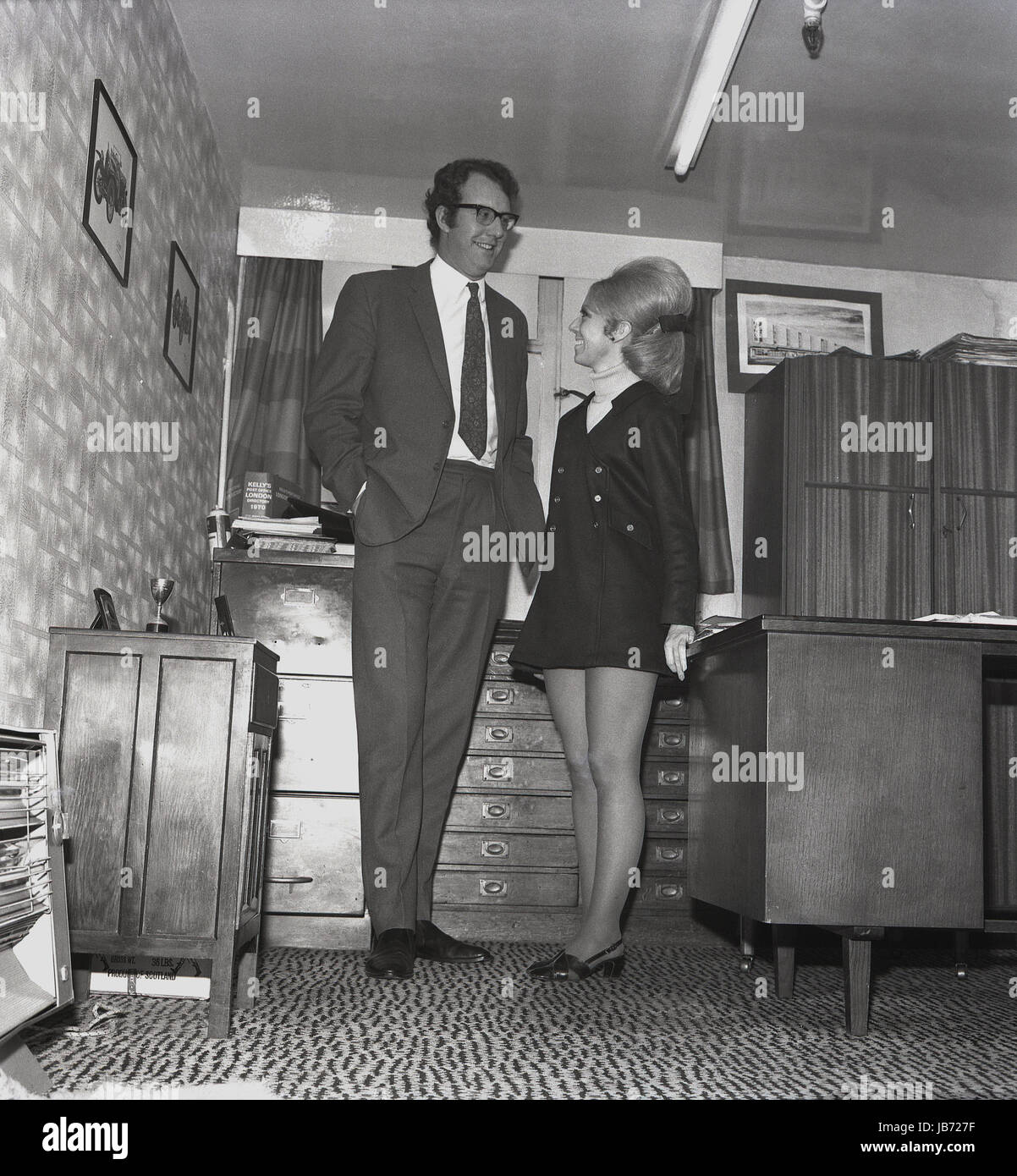 1970s historical a secretary wearing a miniskirt and