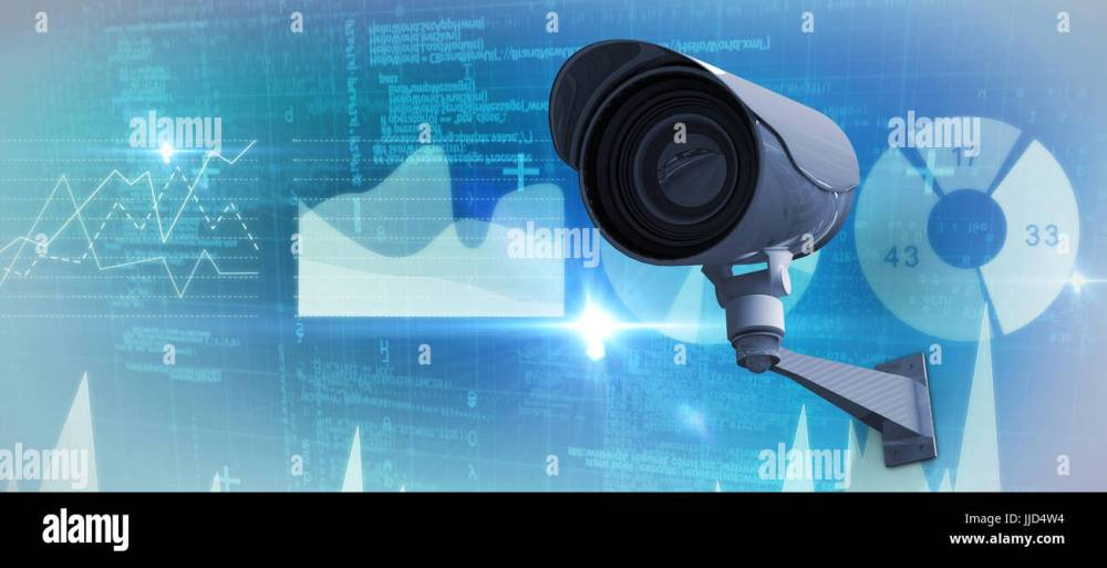 medium resolution of cctv camera against genes diagram on white background