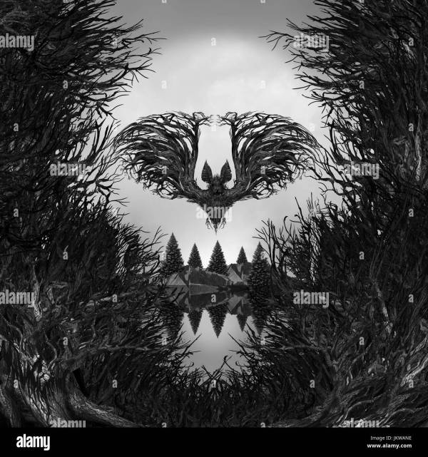 Scary Skull Background Surreal Haunted Forest With