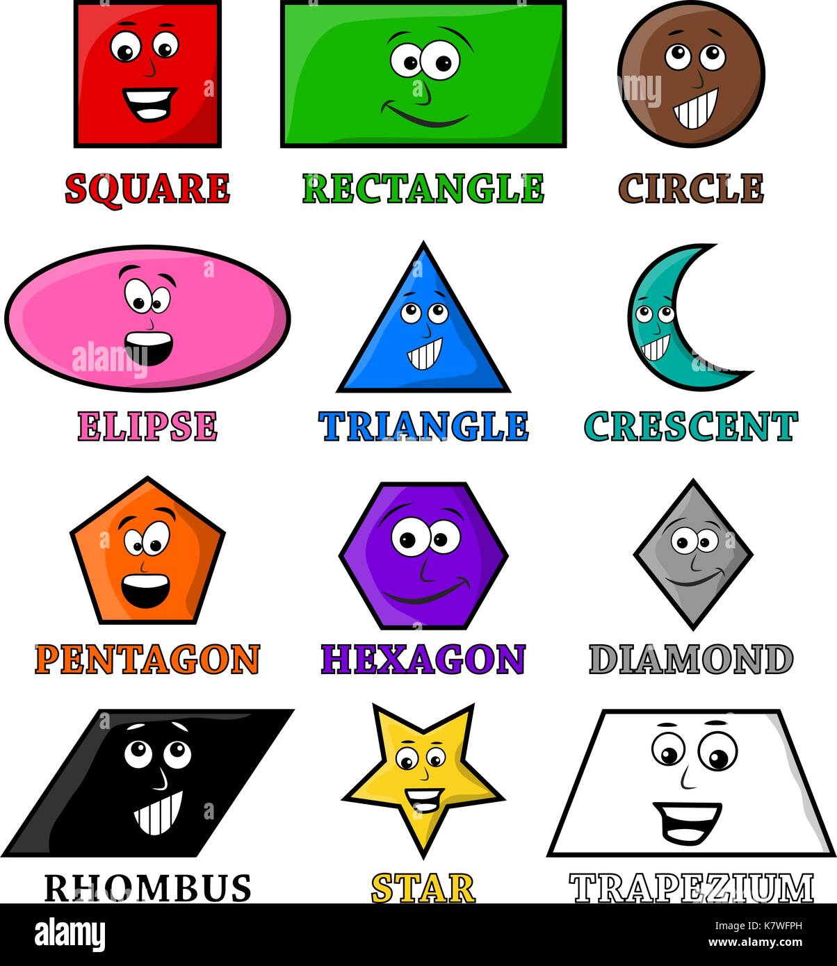 Education Illustration Shape Geometry Cartoon Stock Photos