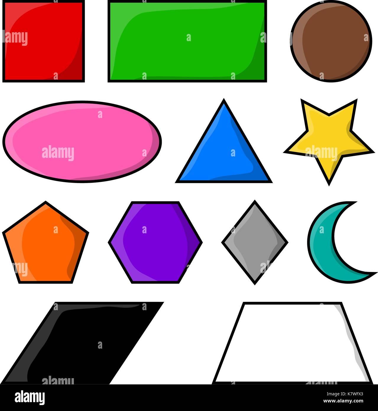 Geometric Shapes Square Circle Oval Triangle Hexagon