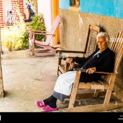Old Lady Chair Brown Leather Tufted Woman Rocking Stock Photos And