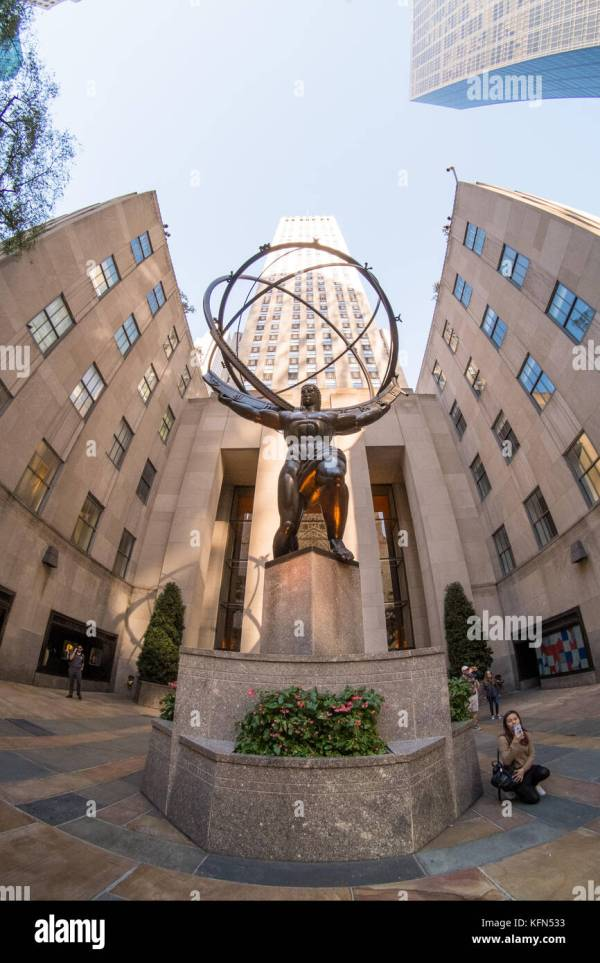 Bronze Statue Rockefeller Center Stock &