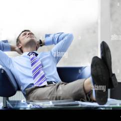 Office Chair Leaning To One Side Black Comfy Man Back In Stock Photos And