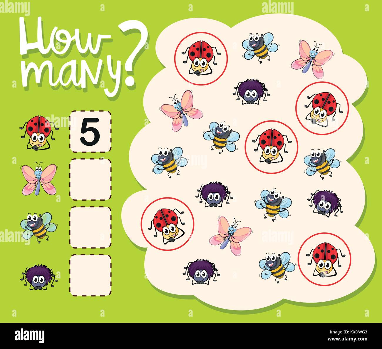 How Many Worksheet With Many Insects Illustration Stock