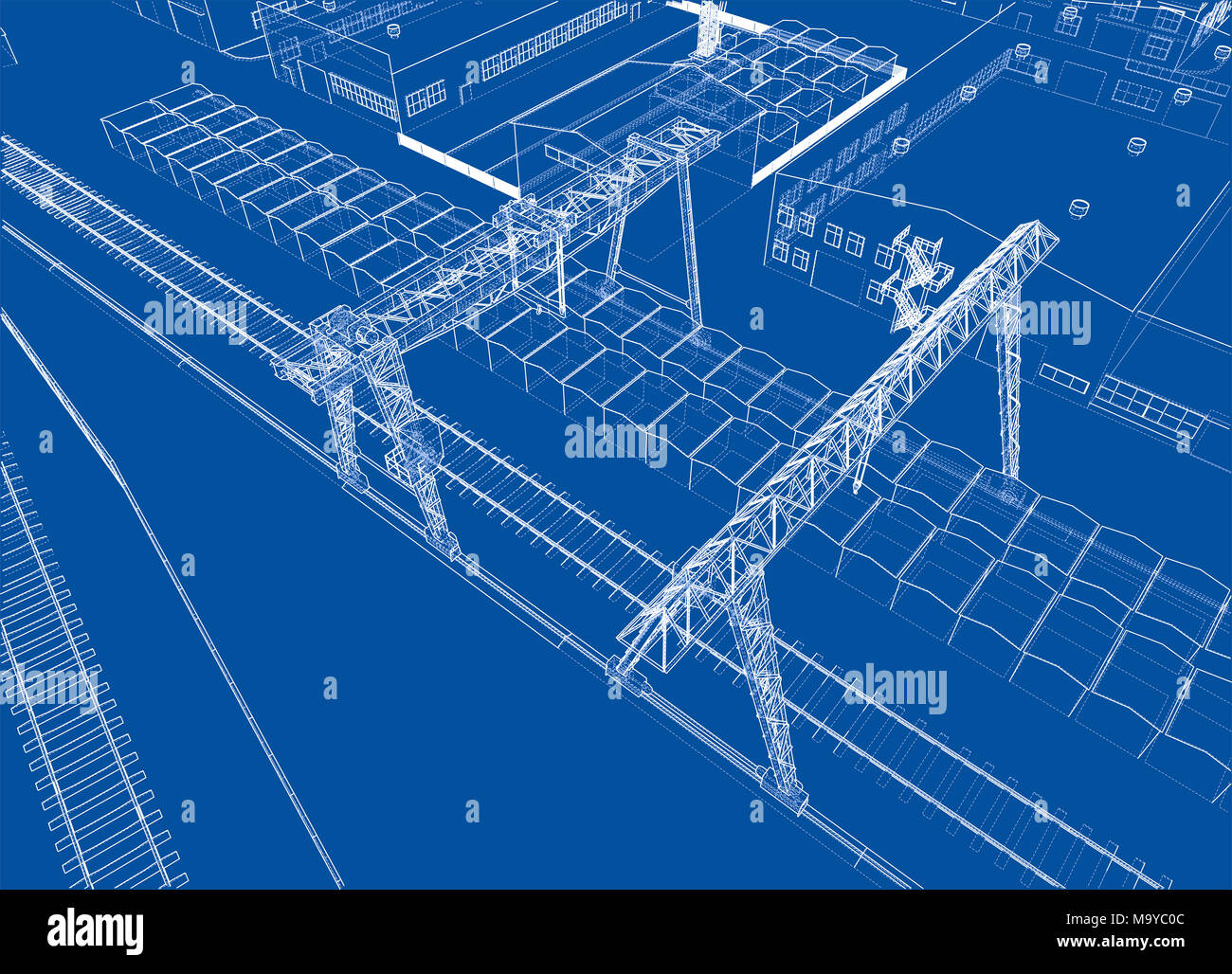 hight resolution of industrial buildings outline wire frame style 3d illustration