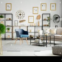 Pouf In Living Room Simple False Ceiling Designs For Plant And Patterned Interior With Blue Armchair Next To Settee Table