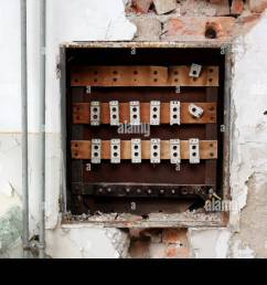 destroyed rusted old fuse box surrounded with crumbling wall visible bricks radiator pipes and broken glass [ 1300 x 956 Pixel ]