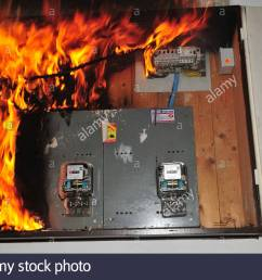 a fire broke out in a household electrical fuse box flames consumed the board photographed [ 1300 x 953 Pixel ]