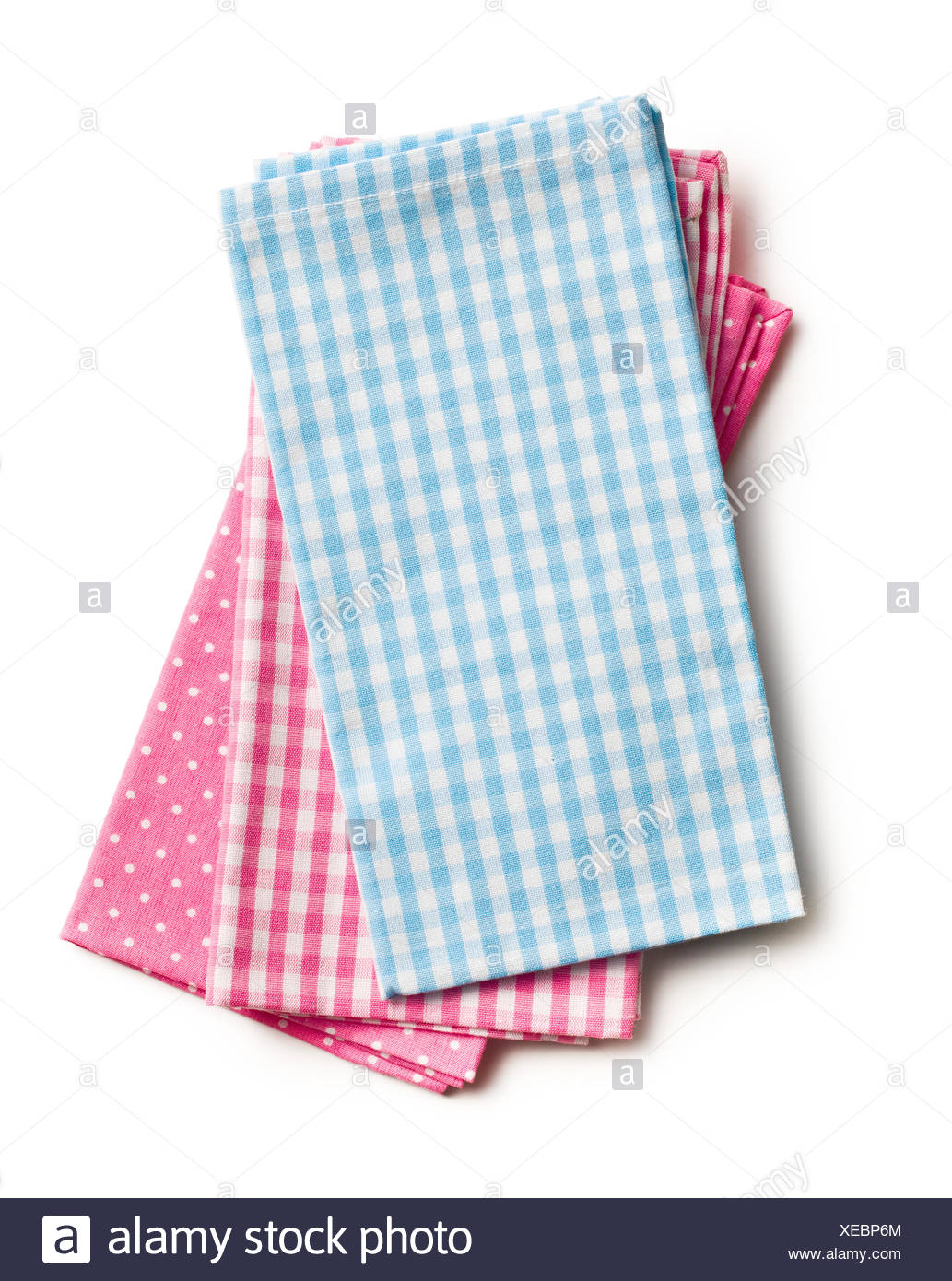 kitchen napkins one hole faucet top view of colorful on white background stock photo