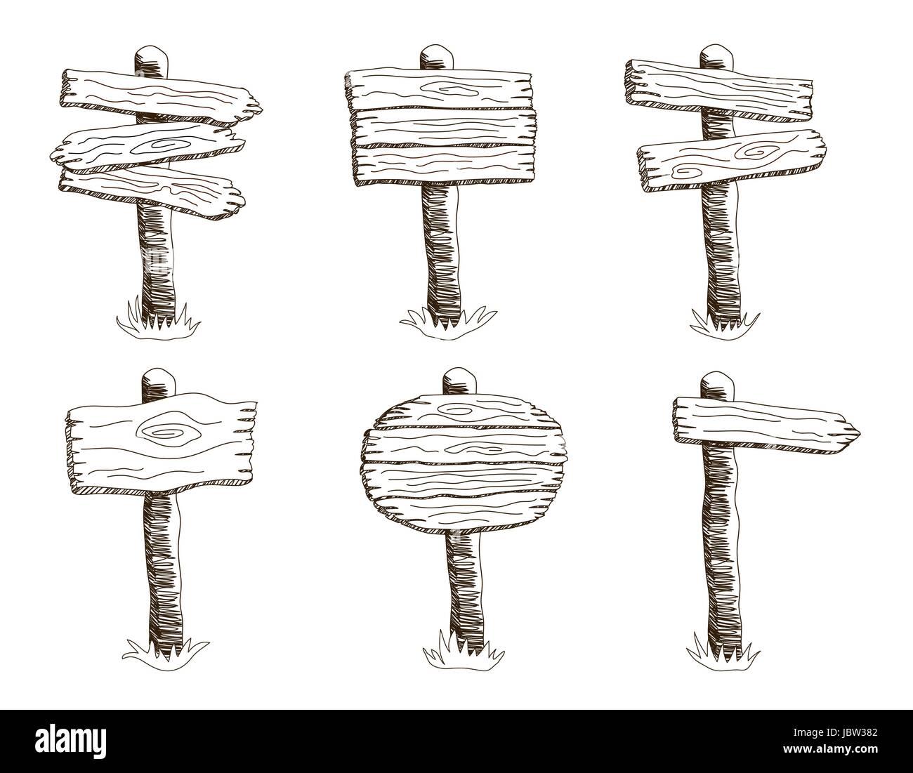 Satz Von Stil Sketch Vector Holzschild Im Rasen Stehen. Hand