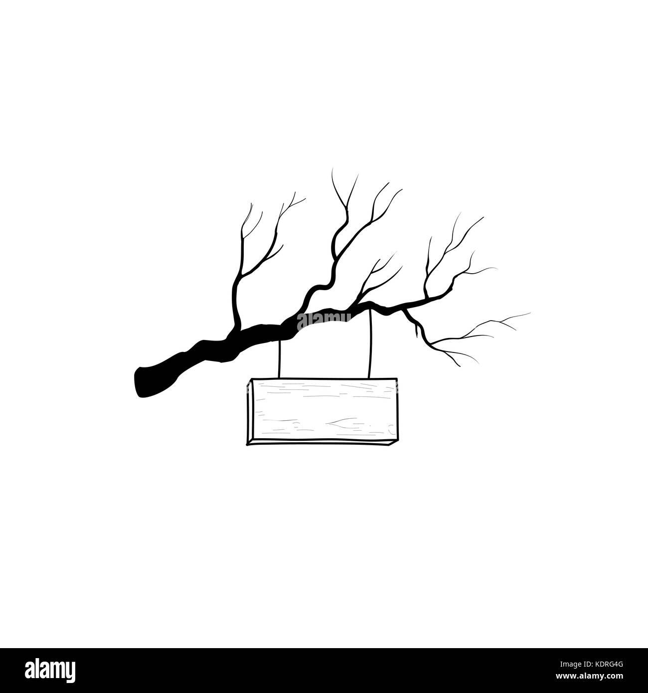 Holz- Schild Auf Ast. Retro Gravur Plank Namensschild. Zeiger Skizze