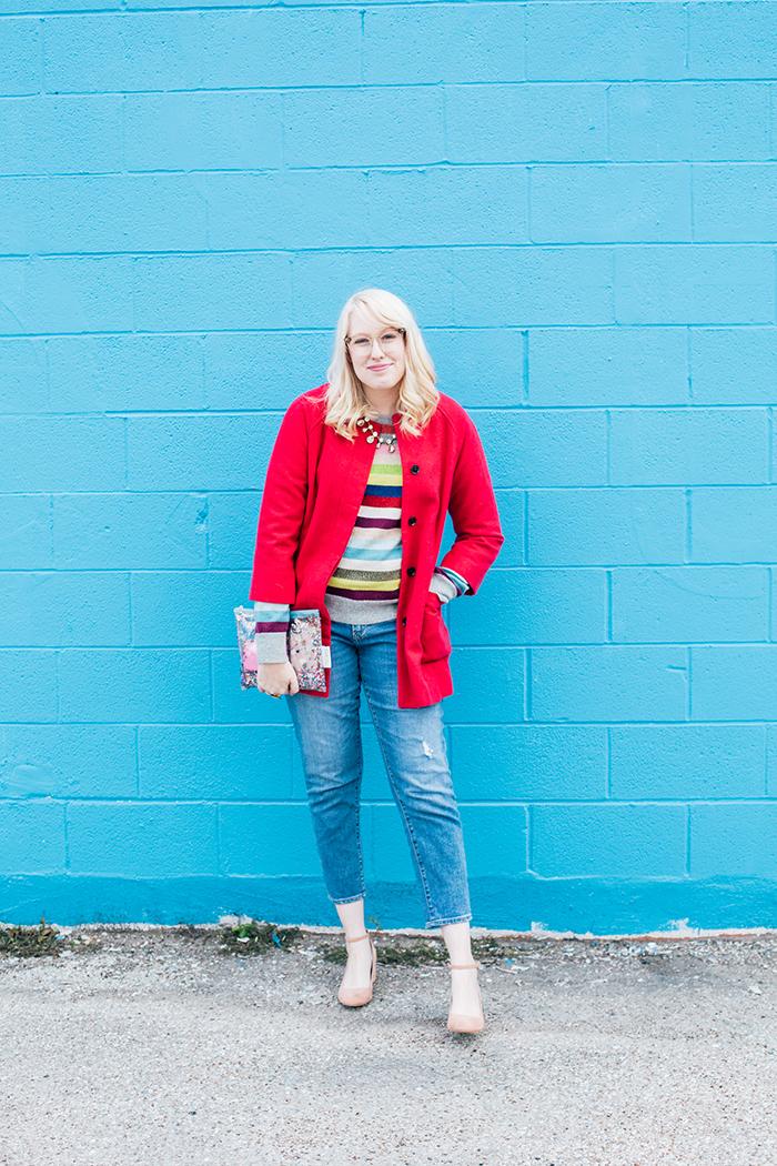 writes like a girl pink coat rainbow gap sweater3