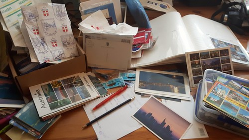 wading through postcards