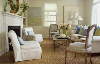 Simple elegance: Classic white living room + French chairs ...