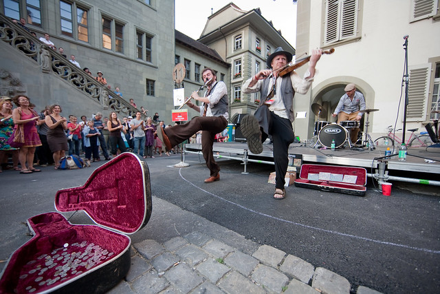 Sheelanagig, Gypsy Folk Jazz (UK) am 6. Buskers Bern 2009 auf dem Rathausplatz