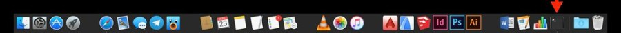Tuto espaces dans le Dock macOS - Dock ouverture Terminal