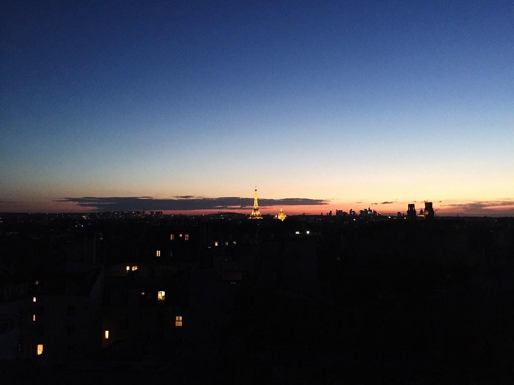 sunset paris eiffel tower