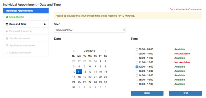 Passport Application - Date and Time