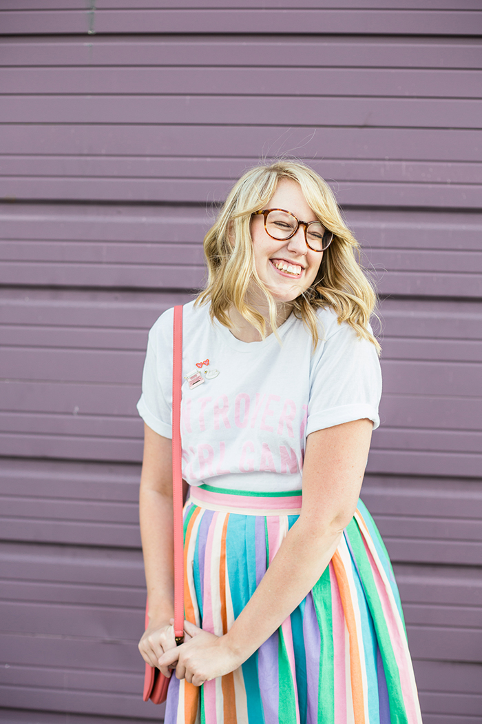 graphic tee and midi skirt outfit