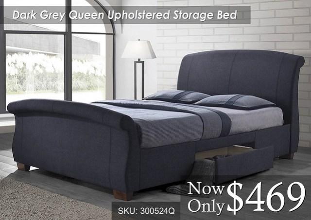 Dark Grey Queen Storage Sleigh Upholstered
