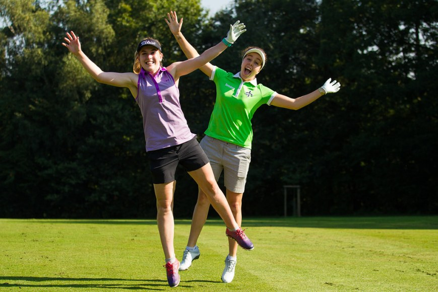 Georgia Hall and Lauren Taylor of England during a practice round