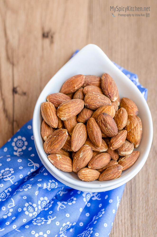 Blogging Marathon, Cooking with Nuts, Microwave Cooking, Microwave Roasted Almonds, Microwave Roasted Nuts, Spicy Almonds,