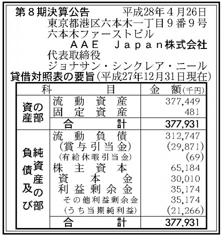 AAE Japan株式会社 第8期 決算公告