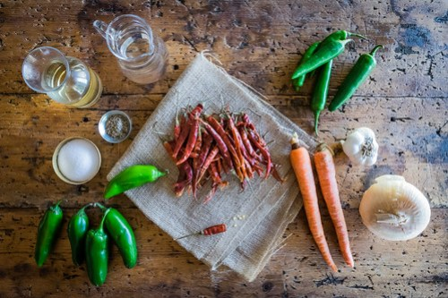 three kinds of chiles, two kinds of vinegar