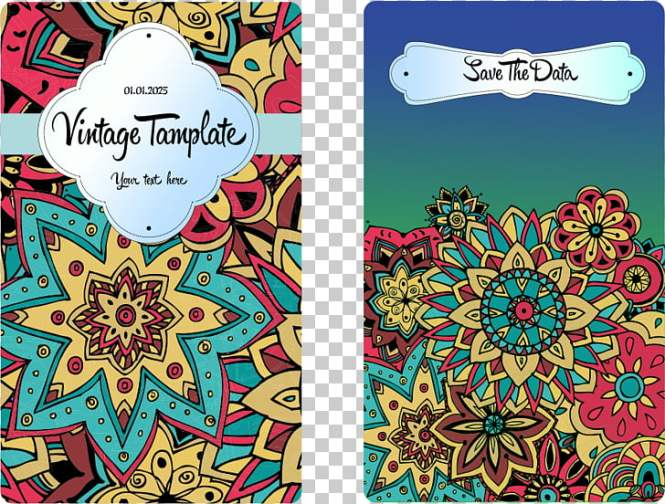 Wedding Invitation Pattern Ethnic Flowers