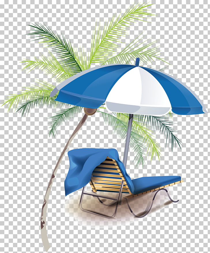Summer Vacation Summer Vacation Creative Summer Vacation Beach Lounger Chair With Umbrella Beside Coconut Tree Png Clipart Free Cliparts Uihere