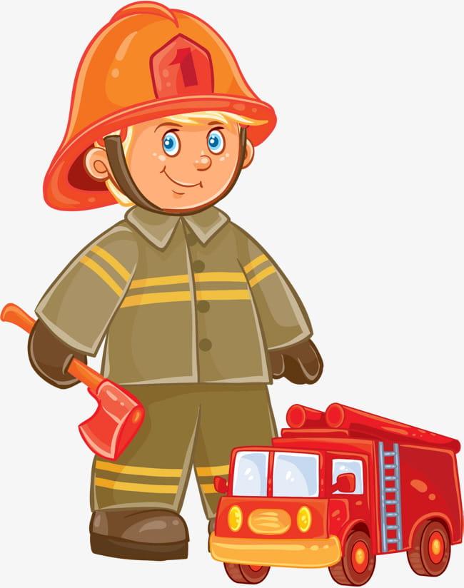 cartoon hand drawn fireman