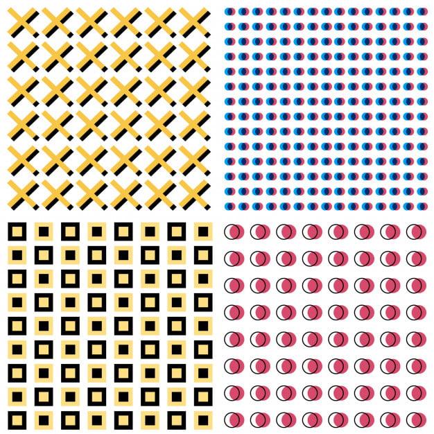 four modern memphis patterns