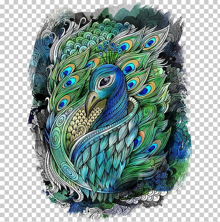 Drawing Watercolor Painting Peafowl Art Peacock Green And Blue Peafowl Illustration Png Clipart Free Cliparts Uihere