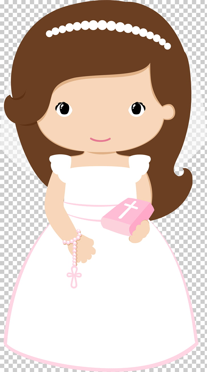 hight resolution of first communion baptism eucharist baptism brown haired bride illustration png clipart