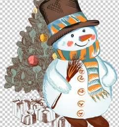christmas snowman christmas cartoon snowman snowman and christmas tree illustration png clipart [ 728 x 1132 Pixel ]