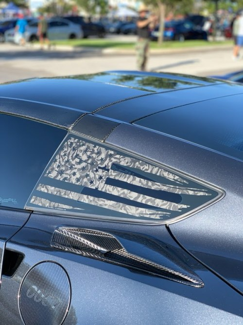 C7 Corvette Rear Quarter Window Flag Decal Stars And